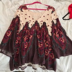 Free people patterned red tunic dress size S